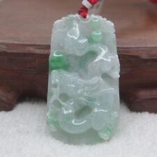 Natural Grade A Jade Green Jadeite Dragon Oblong Pendant 49mm 100% Authentic