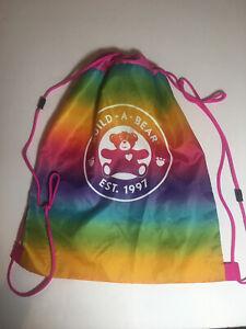 "Build A Bear BABW Rainbow Drawstring Tote Cinch Bag Backpack 17.5 x 13.5"""
