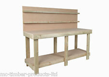 NEW 6FT NEW HAND MADE WOODEN WOODWORK BENCH TABLE MDF TOP HEAVY DUTY - BACKBOARD