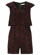 NEW LADIES DOROTHY PERKINS MAYA DELUXE  BLACK & RED LACE SHORT PLAYSUIT  SIZE 14