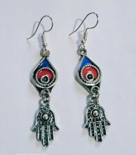with hamsa hand Moroccan earrings mixed colors