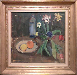 Gunnar Berglund (1906-1992): STILL LIFE WITH FLOWERS, FRUITS AND WINE BOTTLE