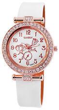 Classix Damenuhr Analog Armbanduhr Lederimitationarmband Weiß Crystal Besatz Uhr