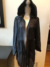 NEW ELIE TAHARI Cut Out Lace Long Sleeve Zipper Front Hooded Jacket Cardigan XL