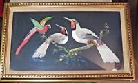"""Real Nice Large Vintage Framed Bird Feather Art Picture 21"""" H. by 13"""" W Frame"""