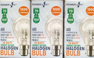 Power-Plus Halogen 70w Light Output 100w Light Bulbs in Bayonet B22 BC New
