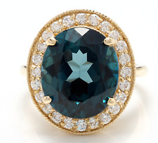 10.75 Carats Natural London Blue Topaz and Diamond 14K Solid Yellow Gold Ring
