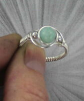 BLUE PERUVIAN OPAL RING -----STERLING SILVER SIZE 5 TO 15 WIRE WRAPPED BEAD RING