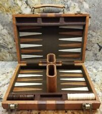 VINTAGE Backgammon Faux LEATHER Brief Case