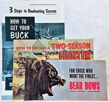 RARE VINTAGE Fred Bear Archery SET 3 Hunting Brochures Catalog Comic & Stories