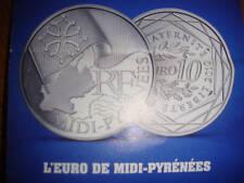 10  EUROS  ARGENT  MIDI- PYRENEES   2010  AVEC SON DEPLIANT
