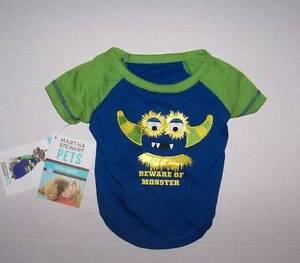 "NWT Martha Stewart Pets Dog blue shirt ""Beware of Monster"" Size Large"