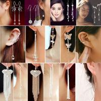 Women Cocktail Rhinestone Crystal Long Tassels Drop Hook Dangle Linear Earrings