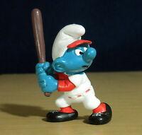 Smurfs 20129 Baseball Player Smurf Batter 1980 Vintage Figure Toy PVC Figurine