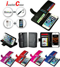 Premium Magnet iwalletcase Wallet Leather Case Cover For Apple iPhone 4S 5C 5S 5