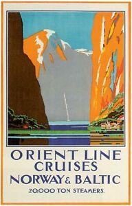 Vintage Norway Orient Line Cruises Ocean Liner Travel Poster Art Reprint A4
