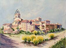 Grande aquarelle Provence village Marseille signée M. Cobourg