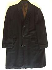 Vintage 70s Gimbels Black 100% Cashmere Overcoat Dress Top Coat Button Front Men