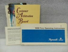 PLYMOUTH FURY      1968 Owners Manual 16293