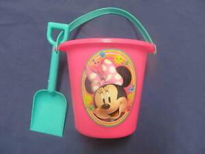 New Minnie Mouse Sand Pail Bucket Shovel Set 5in Tall Beach Outdoor Sandbox Toy