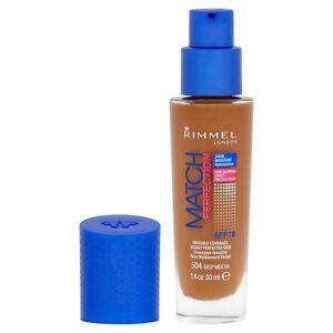 RIMMEL LONDON MATCH PERFECTION SPF18 FOUNDATION 504 DEEP MOCHA 30ML GLASS BOTTLE