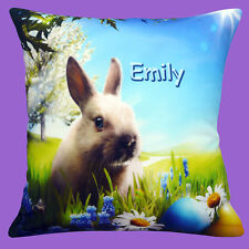"""PERSONALISED Bunny Rabbit Easter Eggs ADD CHOICE OF NAME 12"""" Pillow Cushion"""