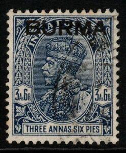 BURMA SG8 1937 3½a DEEP BLUE USED