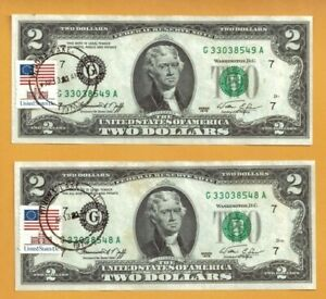 Two Consecutive Serial# First Day Issue 1976 $2 Fed Reserve Note - Stamped! #704