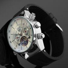 Men's Automatic Mechanical Auto Watch Rubber Strap Tourbillon Date Chronograph