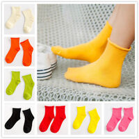 Lot New Cute Candy Color Women Crimping Edge Sport Cotton Socks Crew Casual