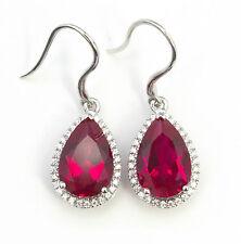 Noble Jewel Pear Shaped Ruby 925 Sterling Silver Earrings