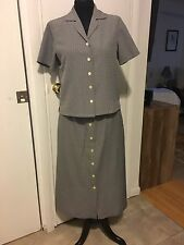 Talbots 2 piece black and white buttoned down blouse with matching skirt. Sz M