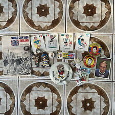 More details for job lot original 1966 world cup memorabilia items badge sticker booklet keyrings