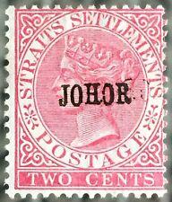 RARE DOUBLE OPT REVERSED Malaya Johor opt Straits Settlements QV 2c SG#12 M2868