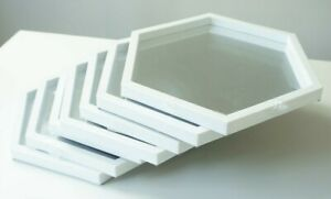 """Octagon Framed Wall Accent Mirrors Set of 7 White 8 1/4"""" Tall"""