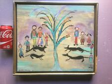 ORIGINAL painting Abstract - Outsider - Primitive by Madalyn Eisenberg 1983