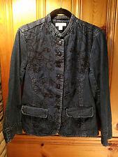 Coldwater Creek embroidered denim jacket mandarin collar size 12