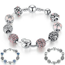 925 Silver Plated Charms Bracelet Love Heart Flower Pink Diamante Vintage Gifts
