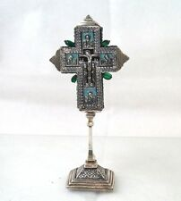 ANTIQUE ORTHODOX CHURCH CROSS SILVER ENAMEL RUSSIAN, GREEK, SERBIAN 18TH CENTURY