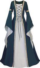 Mittelalter Karneval Larp Cosplay Gewand Kleid Kostüm Anna Dunkelgrün-Ecru XS-60