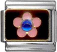 FLOWER PINK Enamel Italian Charm 9mm Link- 1 x GA062 Single Bracelet Link