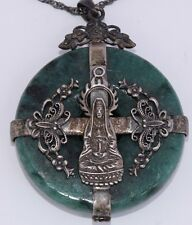 Vintage sterling silver Buddha & carved Green Jade large heavy pendant on chain