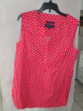 Woman's Sleeveless Red/White Polka Dot Blouse by Jones New York Stretch Size S
