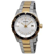 Bulova Men's Quartz Rotating Bezel Gold and Silver Tone 43mm Watch 98A198