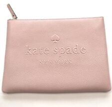 New Kate Spade Ash Street Leather Gia Clutch Zip Pouch $99 Warm Vellum Pink