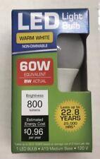 1 LED 9W (60W) 3000K Warm White 800 Lumens Indoor Outdoor Light Bulbs NEW