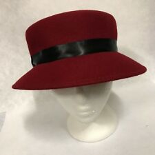 Ladies Red Pork Pie Felt/Wool Hat,Vintage,Retro,Races,Winter Hat,Equine,Unisex
