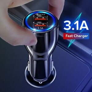 Car Charger Dual USB Quick Charge 3.0 Universal Fast Charging QC Mobile