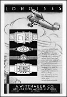 1930 prop airplane Longines A. Wittnauer Co. watches vintage art print ad ads48