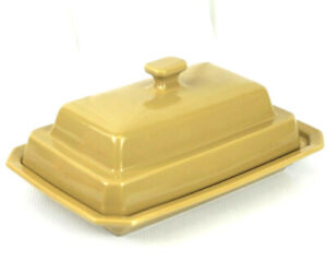 ULTRA RARE VINTAGE HALL POTTERY 1427 MUSTARD YELLOW CERAMIC SERVING TRAY W/ LID!